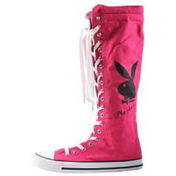 Playboy by Beston Women's Pink Canvas Sneaker Boots