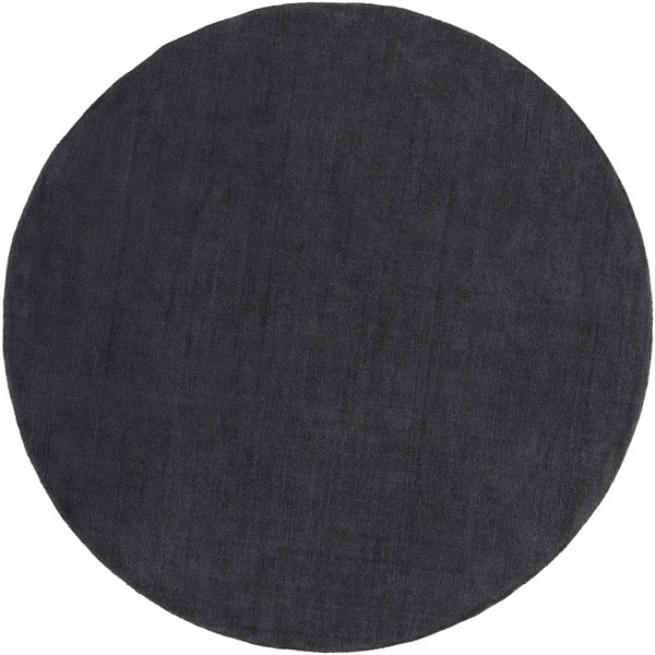 Hand-crafted Solid Charcoal Casual Mantra Wool Rug (8' Round)