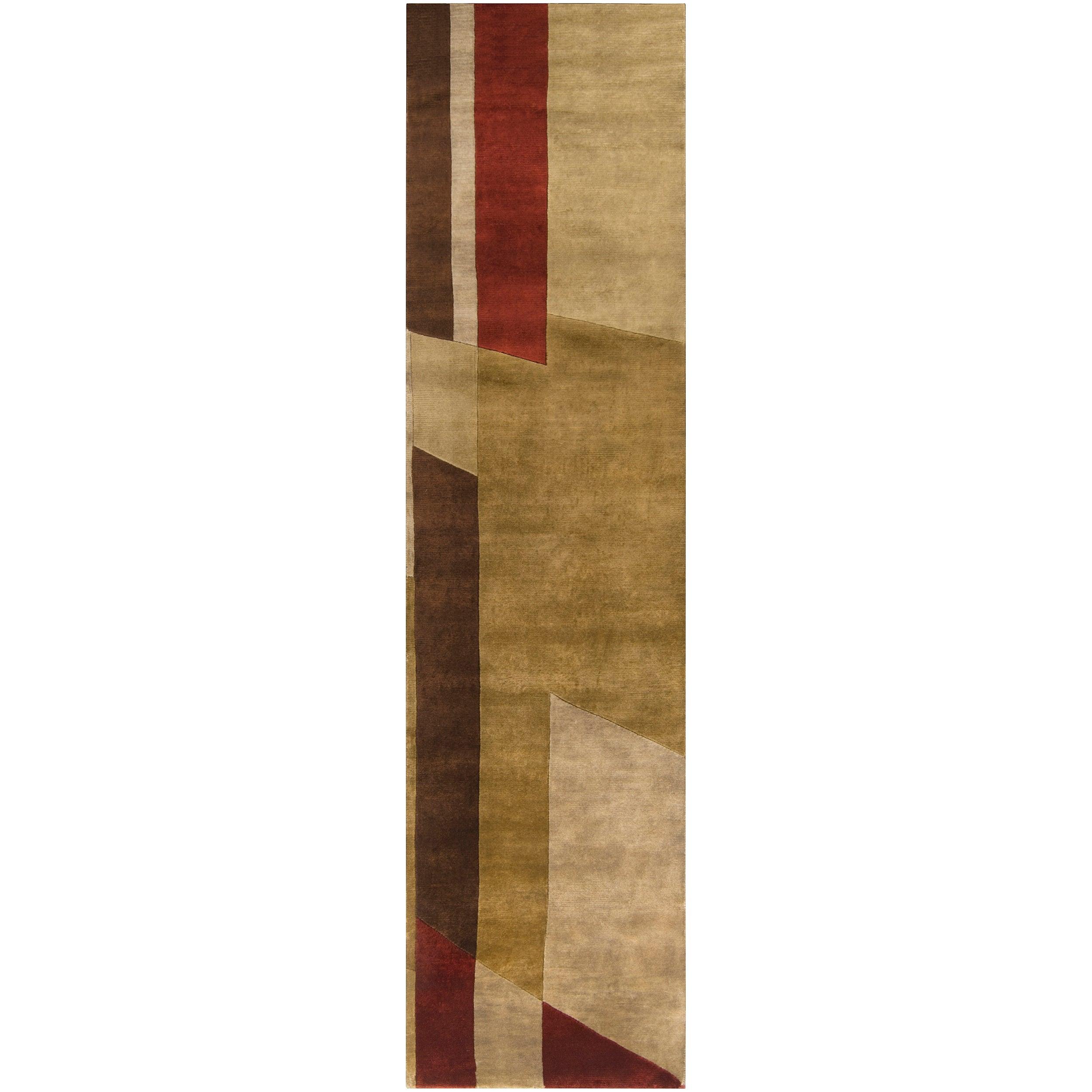 Hand-knotted Multicolored La Crosse Geometric Semi-Worsted Wool Rug (2'6 x 10')