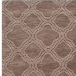 Hand-crafted Light Brown Lattice Mantra Wool Rug (8' x 11')