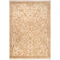 Hand-Knotted Multicolored La Crosse Semi-Worsted Border Pattern New Zealand Wool Rug (9' x 13')