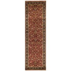 Hand-knotted Multicolored Burgundy La Crosse Semi-Worsted New Zealand Wool Rug (3' x 12')