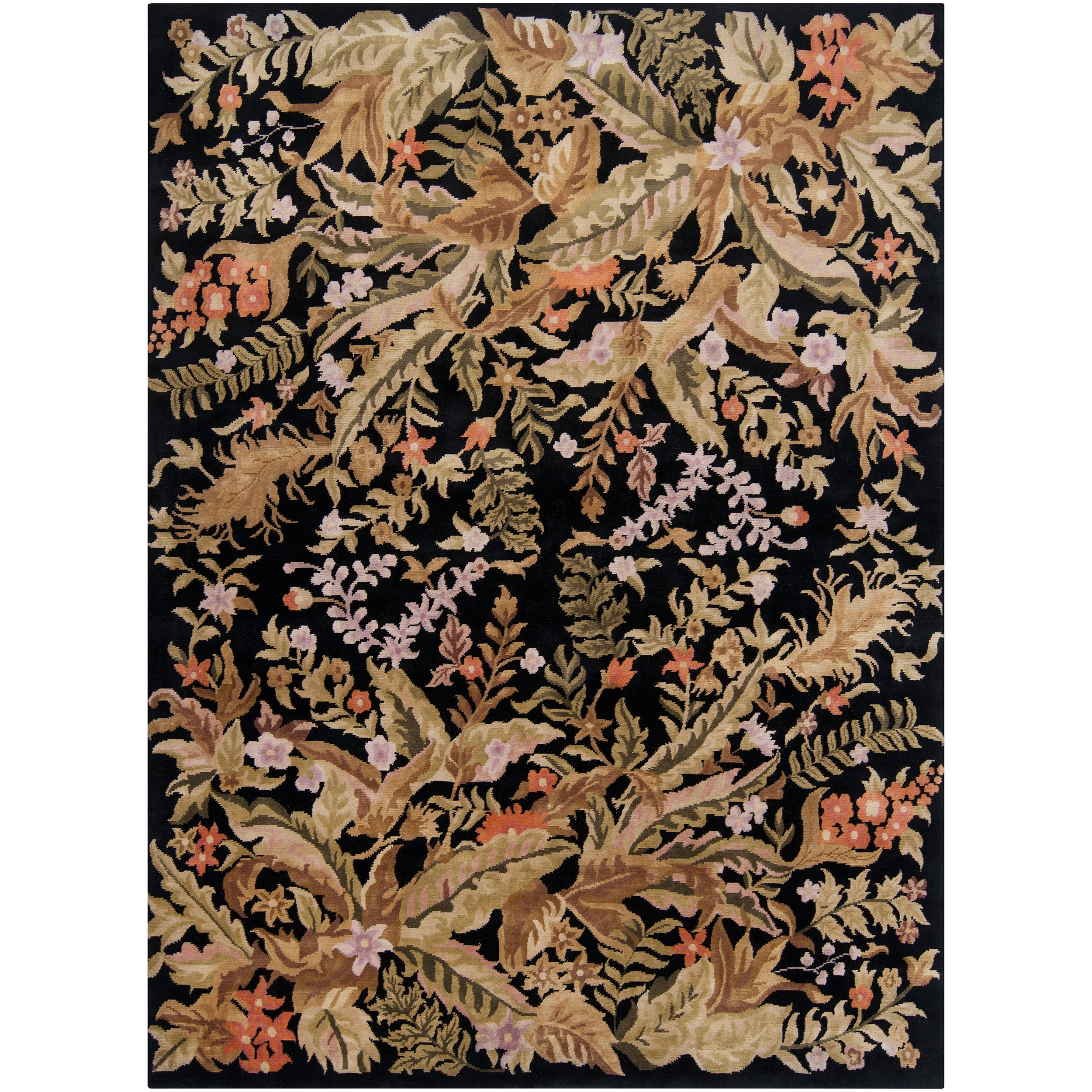 Hand-knotted Multicolored La Crosse Geometric Semi-Worsted Wool Floral Rug (8' x 11')