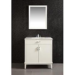 Oxford 22 x 30 White Vanity Decor Mirror
