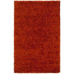 Hand-woven Red Ferta Soft Shag Rug (8' x 10')