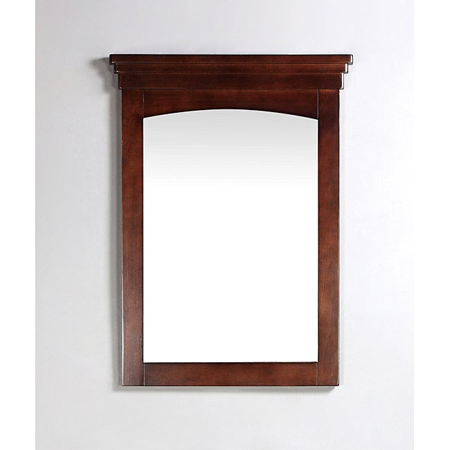 WYNDENHALL Windsor 22 x 30 Walnut Brown Bath Vanity Decor Mirror