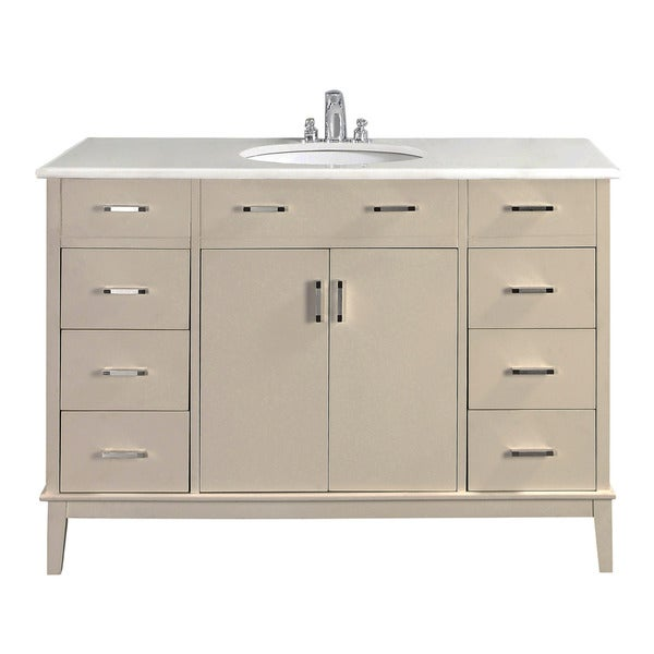 white 48 inch bath vanity with 2 doors and white quartz marble top