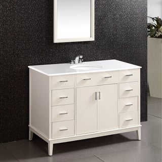WYNDENHALL Oxford White 48-inch Bath Vanity with 2 Doors and White Quartz Marble Top