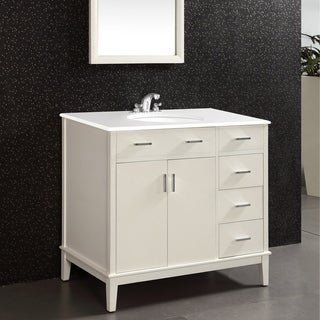 Oxford Oxford White 36-inch Bath Vanity with 2 Doors and White Quartz Marble Top