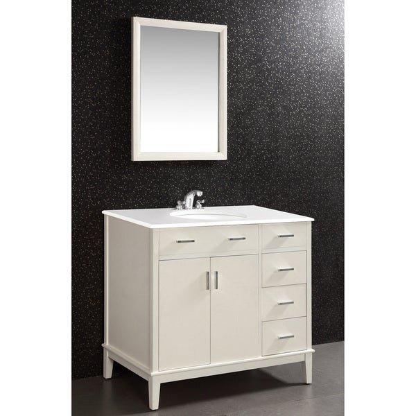 WYNDENHALL Oxford Oxford White 36-inch Bath Vanity with 2 Doors and White Quartz Marble Top