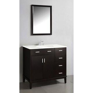 Oxford Dark Espresso Brown 36-inch Bath Vanity with 2 Doors and White Quartz Marble Top