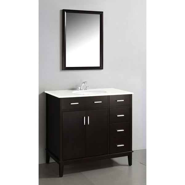 oxford dark espresso brown 36 inch bath vanity with 2 doors and white