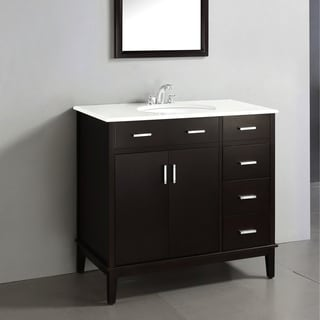 Oxford Dark Espresso Brown 36-inch Bath Vanity with 2 Doors and White Quartz Marble Top
