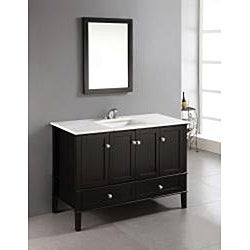 Windham black 48 inch bath vanity with 2 doors bottom - Bathroom vanity with bottom drawer ...