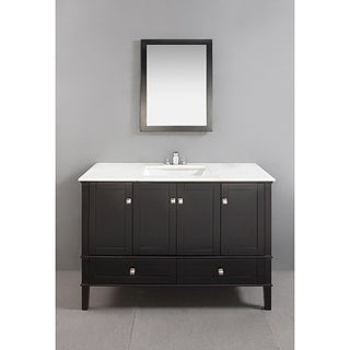 Windham Black 48-inch Bath Vanity with 2 Doors, Bottom Drawer and White Marble Top
