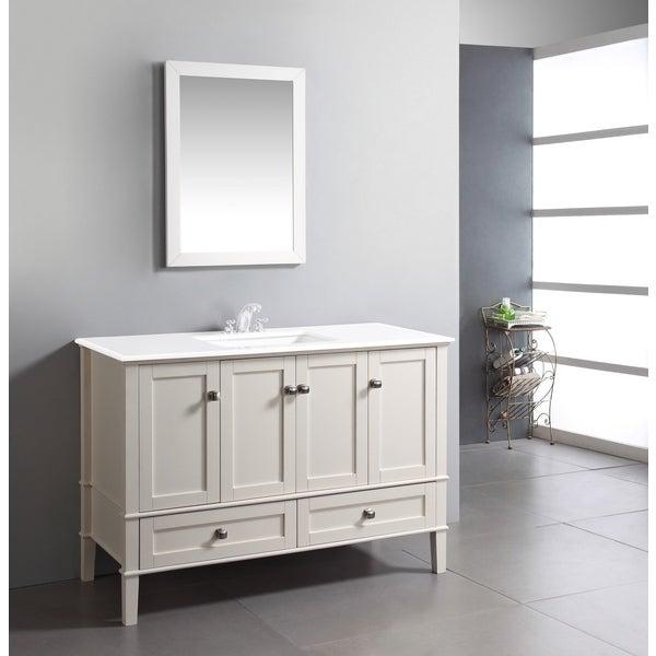 WYNDENHALL Windham Soft White 49-inch 2-door, 2-drawer Bath Vanity with, White Quartz Marble Top