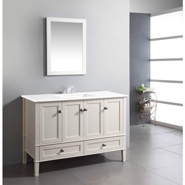 Windham soft white 49 inch 2 door 2 drawer bath vanity - Bathroom vanity with bottom drawer ...