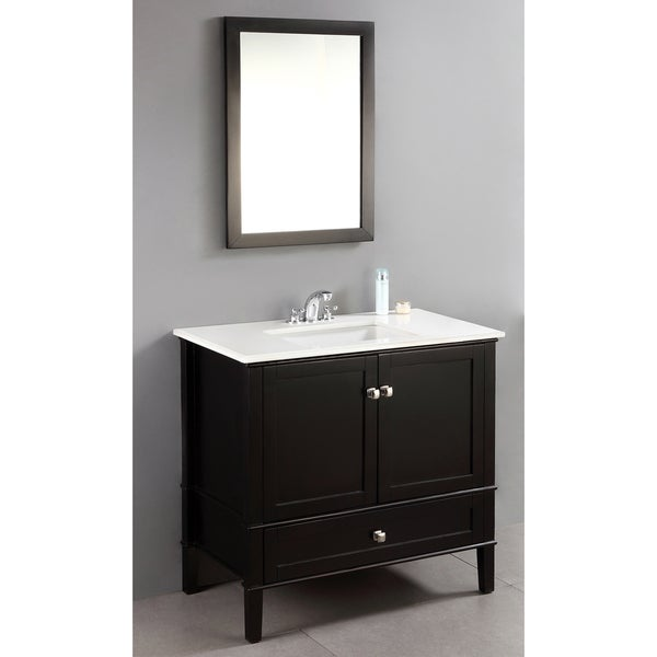 WYNDENHALL Windham Black 37-inch Bath Vanity Set with Two Doors, Bottom Drawer and White Quartz Marble Top