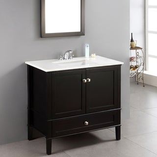 Windham Black 36-inch Bath Vanity with 2 Doors, Bottom Drawer and White Quartz Marble Top