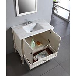 windham soft white 36 inch bath vanity with 2 doors bottom drawer and