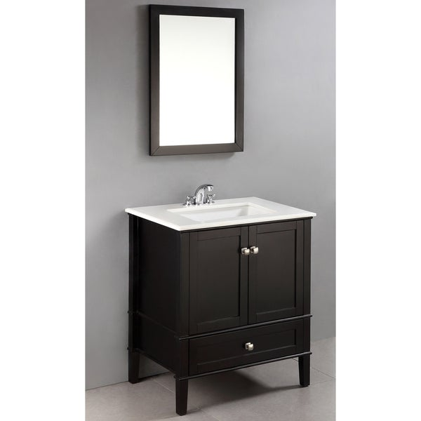 30 inch 2 door bath vanity set with bottom drawer and white marble top