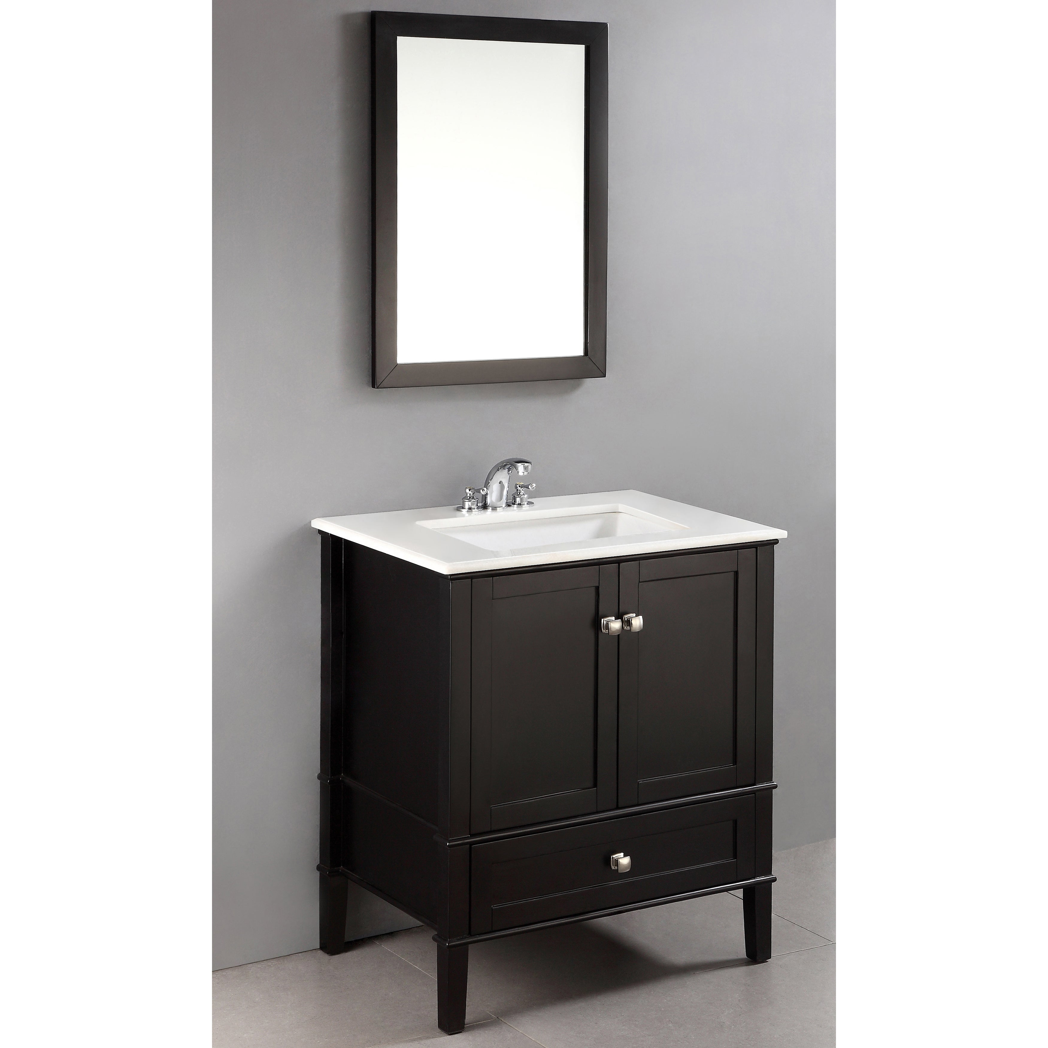 Windham black 30 inch bath vanity with 2 doors bottom for Bathroom vanity with bottom drawer