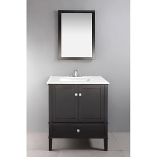 Windham black 30 inch bath vanity with 2 doors bottom - Bathroom vanity with bottom drawer ...