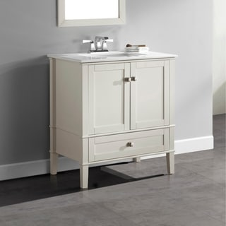 WYNDENHALL Windham Soft White 30-inch Bath Vanity with 2 Doors, Bottom Drawer and White Quartz Marble Top