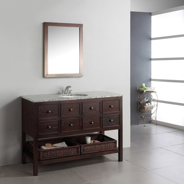 WYNDENHALL New Haven Walnut Brown 48-inch Bath Vanity with 2 Drawers and Dappled Grey Granite Top