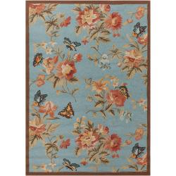 Hand-hooked Blue Radiant Indoor/Outdoor Floral Rug (5' x 7')