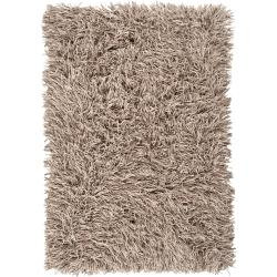 Hand-woven Beige Lowell New Zealand Felted Wool Plush Shag Rug (8' x 10')