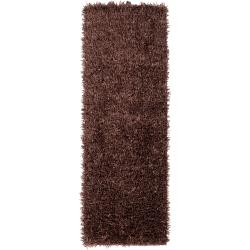 Handwoven Brown South Hampton Soft Plush Shag Runner Rug (2'6