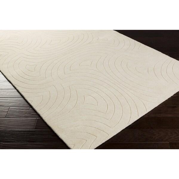 Candice Olson Loomed Cream Scuddle Geometric Plush Wool Rug (9' x 13')