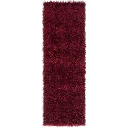 Hand-woven Burgundy South Hampton Soft Plush Shag Rug (2'6 x 8')