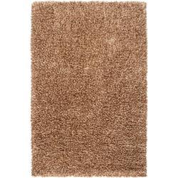Hand-woven Brown Savanna New Zealand Wool Shag Rug (5' x 8')