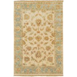 Hand-knotted Tan Maine Ave New Zealand Hard Twist Wool Rug (9' x 13')