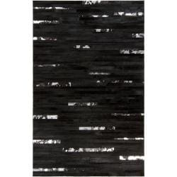 Hand-crafted Black Leather Animal Hide Trailblazer Rug (5' x 8')