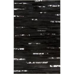 Hand-crafted Black Leather Animal Hide Trailblazer Rug (8' x 10')