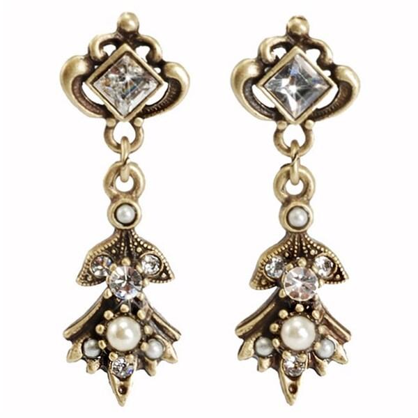 Sweet Romance Bronzetone Glass Pearl and Crystal 1940's Earrings
