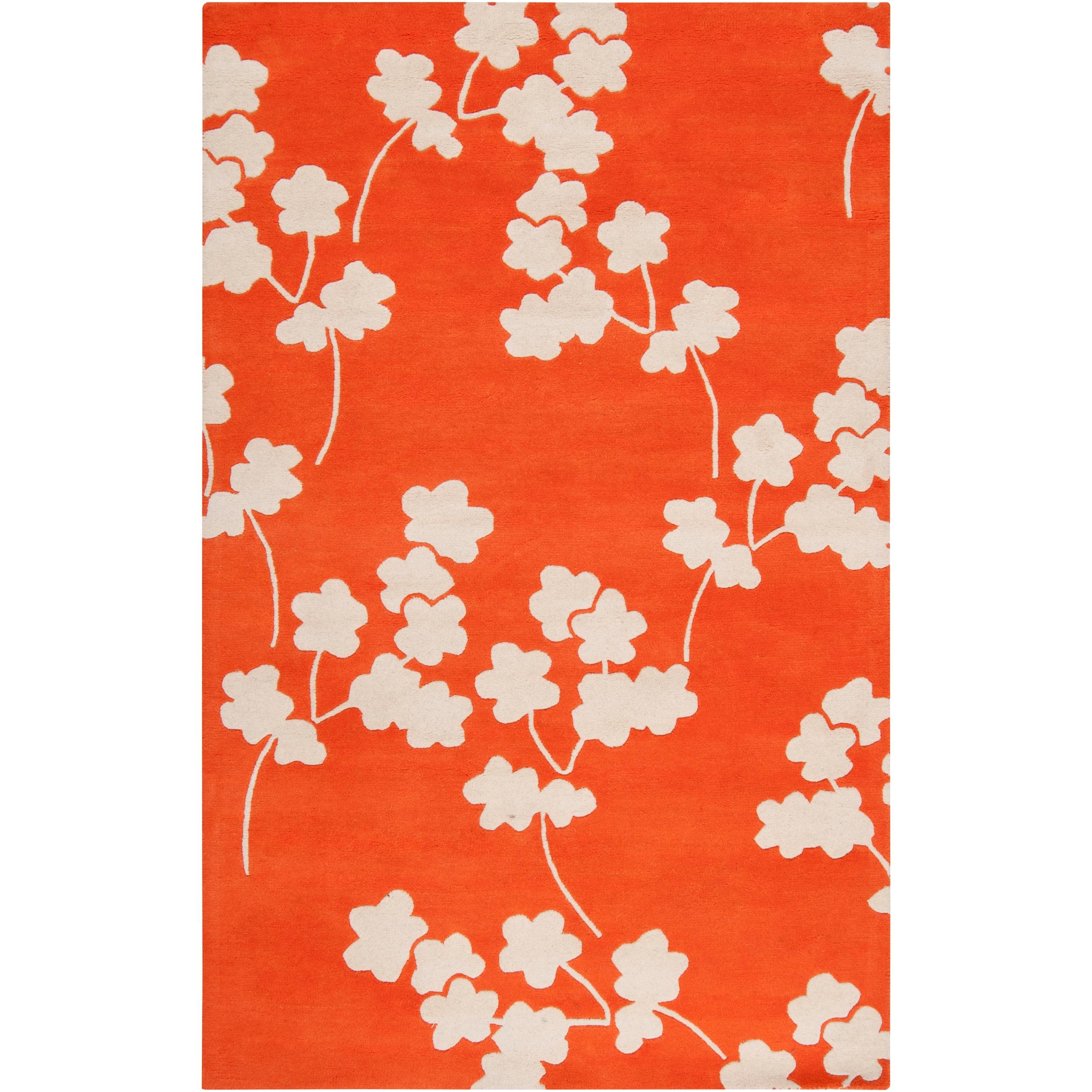 Jill Rosenwald Hand-tufted Orange Reelan Floral Wool Rug (5' x 8')