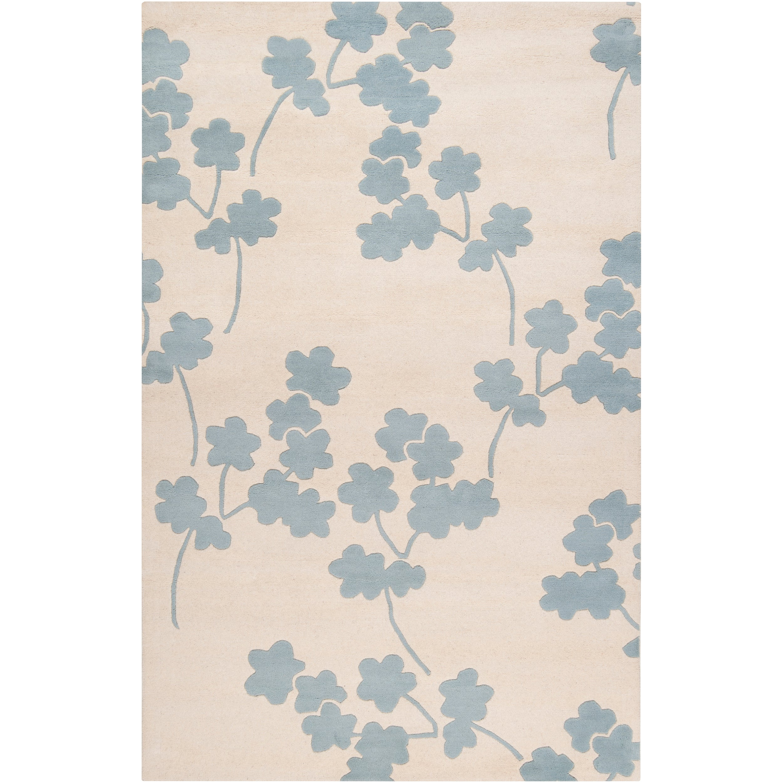Jill Rosenwald Hand-tufted Blue Reelan Floral Wool Rug (8' x 11')