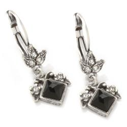 Sweet Romance Silvertone Black Czech Glass Art Deco Geometric Earrings