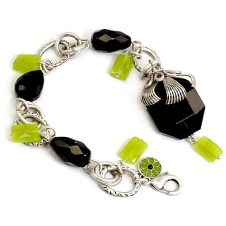 Sweet Romance Silvertone Green and Black Crystal Bracelet