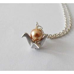 Adrienne Audrey Jewelry Silver Crane Necklace with Bronze  Pearl