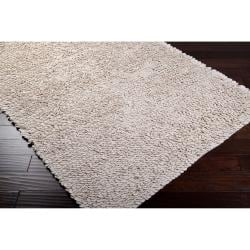 Hand-woven White Eau Claire New Zealand Wool Shag Rug (2' x 3')