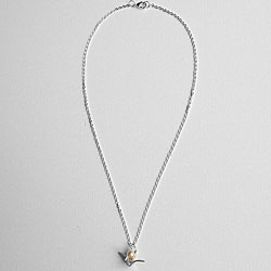 Adrienne Audrey Jewelry Silver Crane Necklace With Ivory Pearl