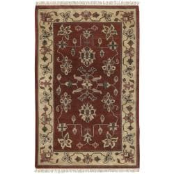 Hand-knotted Multicolored Burgundy Eau Claire New Zealand Wool Rug (5'6 x 8'6)