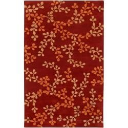 Hand-tufted Red Ashland Red Floral Wool Rug (9' x 13')