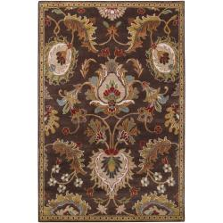 Hand-Knotted Multicolored Floral Ashland Wool Rug (5' x 8')
