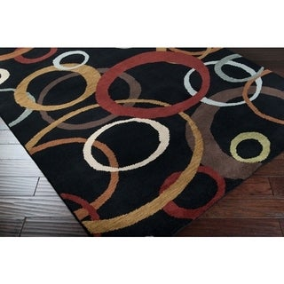 Hand-knotted Multicolored Ashland Geometric Circles Wool Rug (8' x 11')